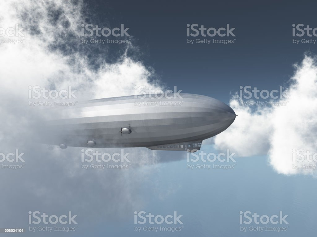 Airship between the clouds vector art illustration