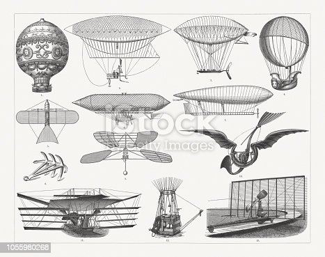 Airship travel in the past: 1) Montgolfier brothers' balloon (1783); 2) Giffard dirigible (1852); 3) Navigable balloon developed by Dupuy de Lome (1872); 4) Hydrogen-balloon by Charles and Robert brothers (1783); 5) Victor Tatin (1843-1913) compressed air powered Aeroplane (1879); 6) Airship by Paul Haenlein (1835-1905); 7) La France - Airchip by Charles Renard and Arthur Constantin Krebs (1884/85); 8) Anchor by Hervé; 9) Helicopter by Enrico Forlanini (1878); 10) Mechanical bird by Gustave Trouvé (1890); 11) Flying machine by Sir Hiram Stevens Maxim (1894); 12) Basket of the ballon