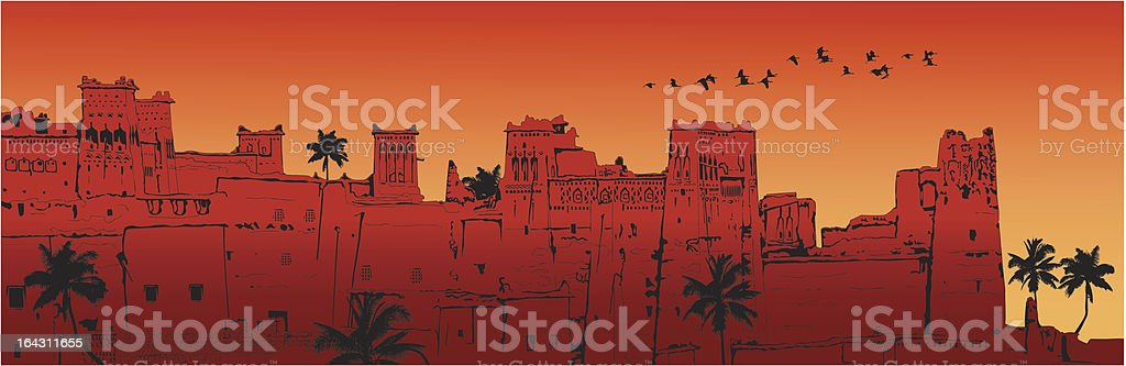 Ait-Benhaddou Kasbah in Morocco royalty-free stock vector art