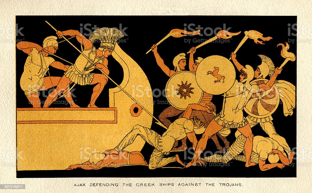 Ajax defending the Greek ships against the Trojans vector art illustration