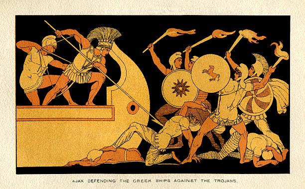 Ajax defending the Greek ships against the Trojans vector art illustration