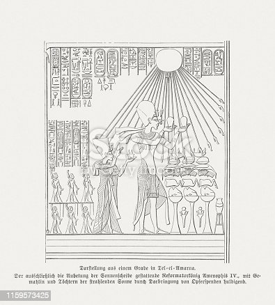 Akhenaten (Amenophis IV) sacrifices the god Aton. Behind him his wife Nefertiti and princesses. Wood engraving after a relief from a grave in Amarna, Egypt, published in 1879.