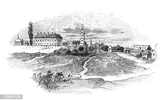 Illustration of a Čakovec in the XVIIl. Century (Hungarian: Csáktornya; German: Tschakathurn) is a city in northern Croatia, located around 90 km (56 miles) north of Zagreb, the Croatian capital