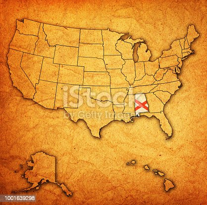 alabama on old vintage map of usa with state borders