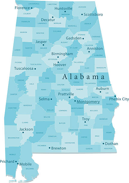 alabama vector map regions isolated - alabama 幅插畫檔、美工圖案、卡通及圖標