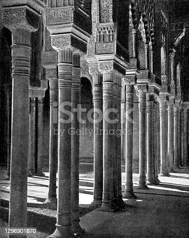istock Alabaster Colonnade of the Court of the Lions at the Alhambra in Granada, Spain - 19th Century 1296901670