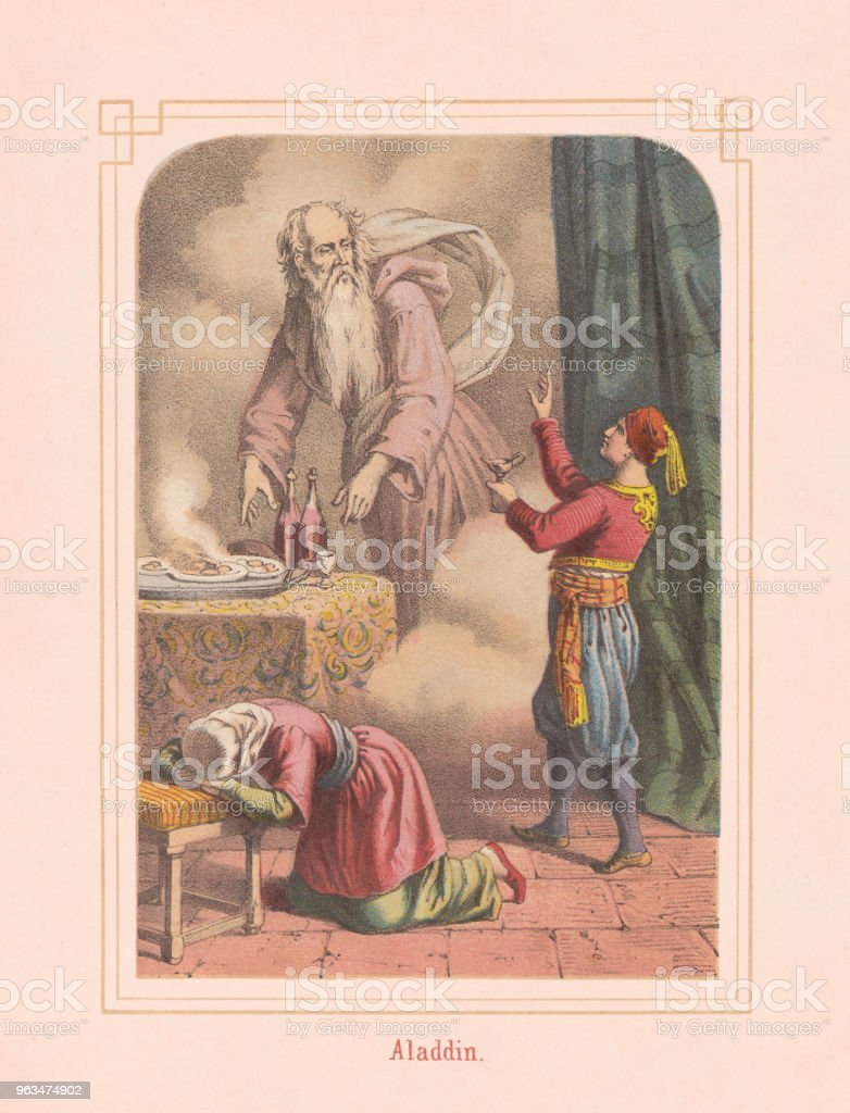 Aladdin and the magic lamp, from Arabian Nights, lithograph, 1867 vector art illustration
