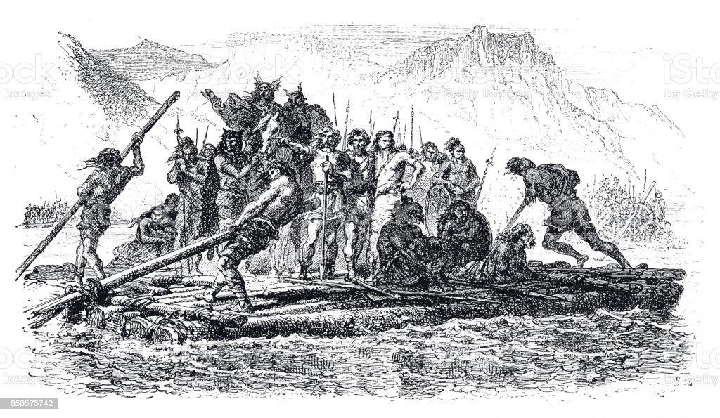 Alaric the Bold, 360-410 A.D. vector art illustration