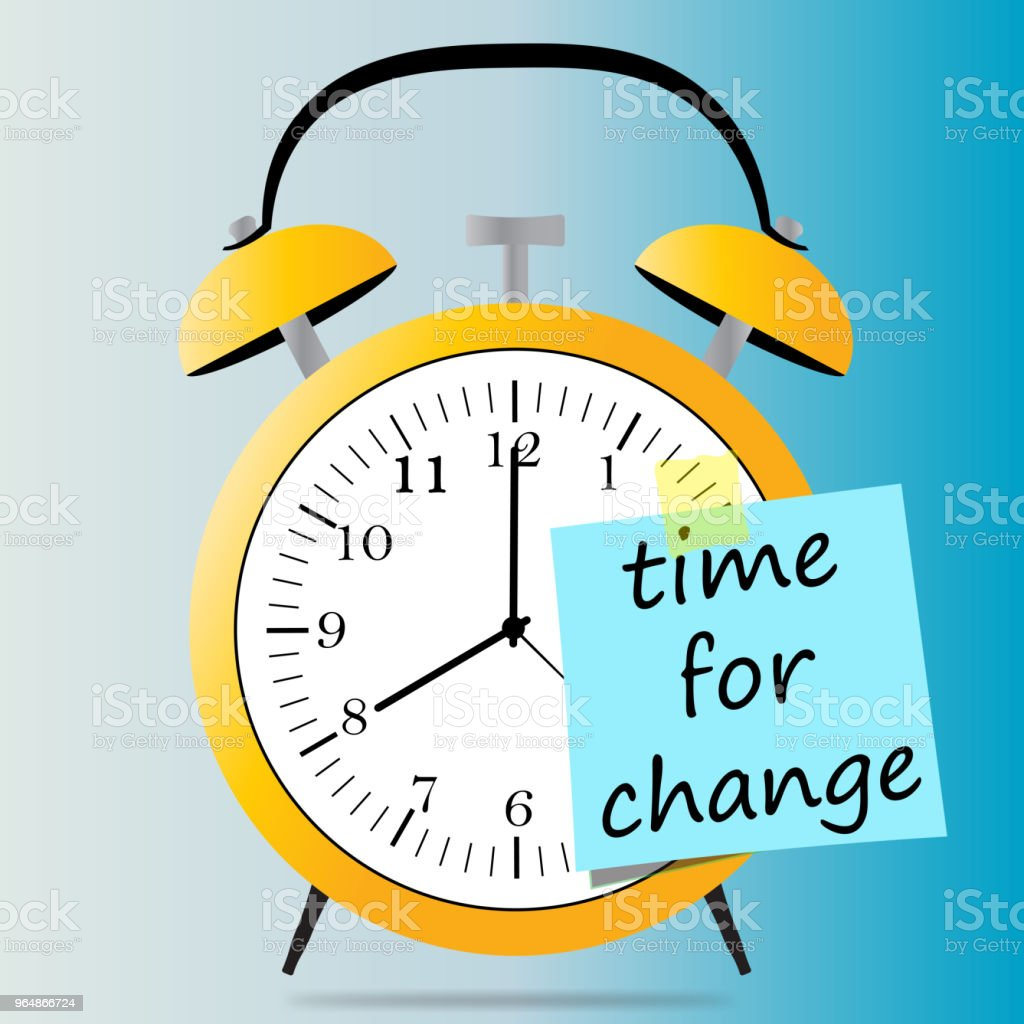 alarmclock and small paper with time for change royalty-free alarmclock and small paper with time for change stock illustration - download image now