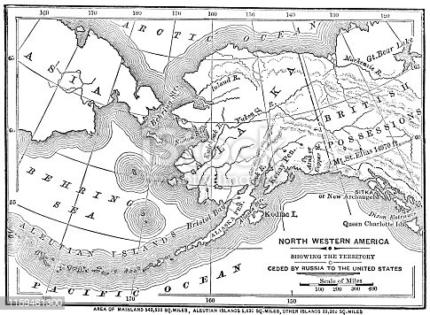 Engraving from 1873 showing a map of Alaska