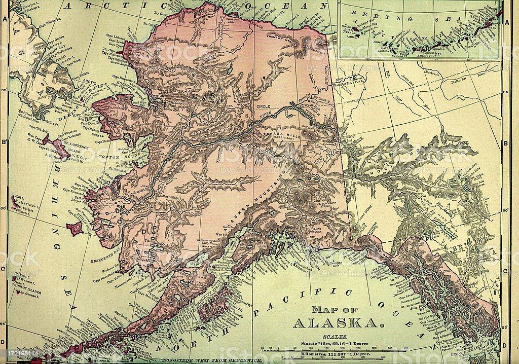 Alaska Old Map vector art illustration