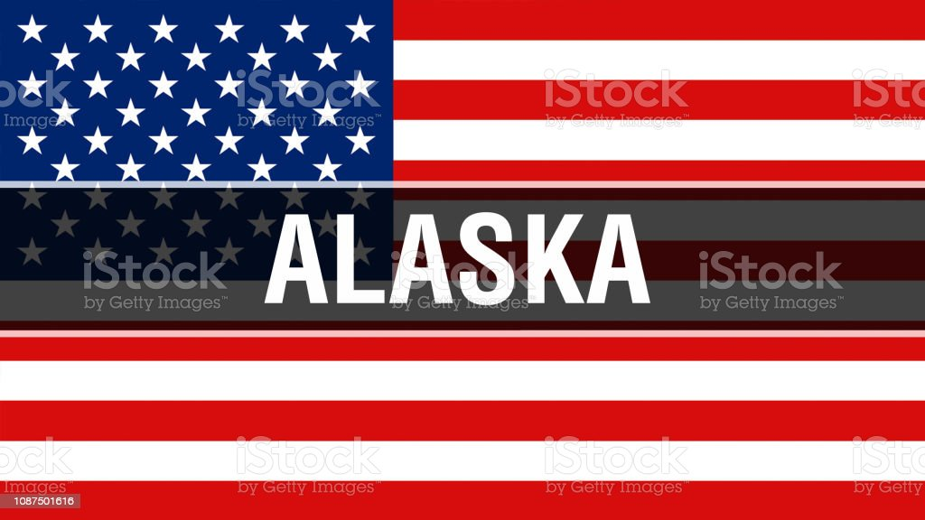 Alaska State On A Usa Flag Background 3d Rendering United States Of