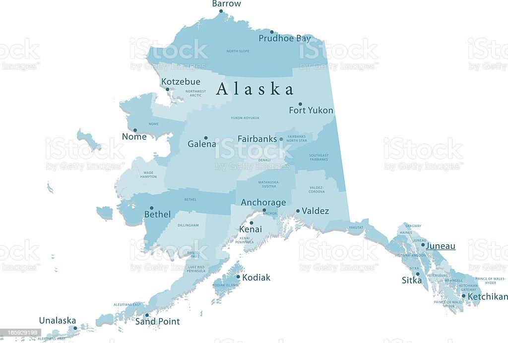 Alaska Vector Map Regions Isolated vector art illustration