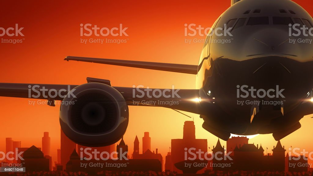 Albany New York USA America Skyline Sunrise Take Off vector art illustration