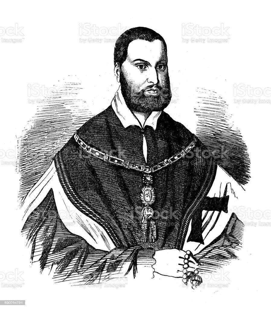 Albert, 17.5.1490 - 20.3.1568, Grand Master of the Teutonic Order 1510 - 1525, Duke of Prussia 1525 - 1568, portrait vector art illustration