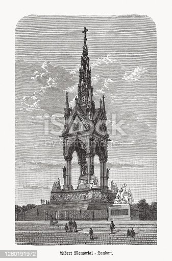 Historical view of the Albert Memorial in the Kensington Gardens, London, England. Designed by Sir George Gilbert Scott in the Gothic Revival style and built between 1864 to 1875. Wood engraving, published in 1893.