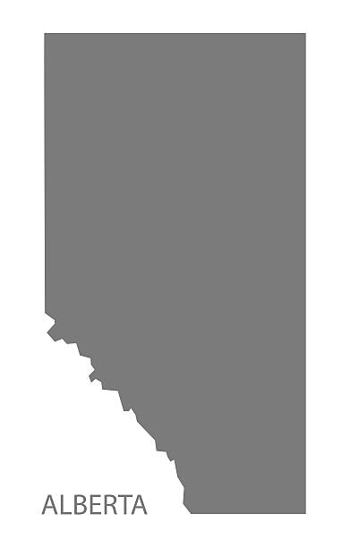 Alberta Canada Map grey vector art illustration