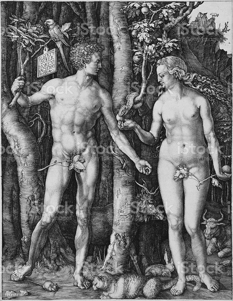 Albrecht Direr , Adam and Eve, engraving 243x197 mm, 1504....