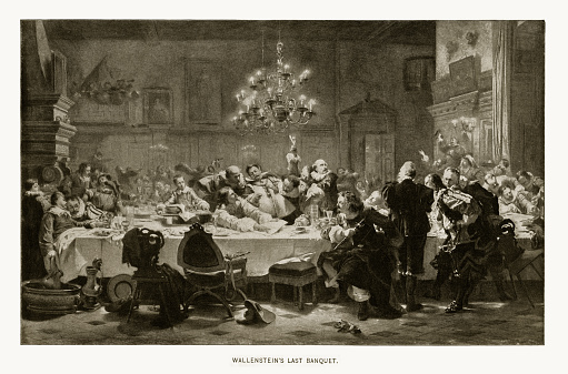 Rare and beautifully executed Engraved illustration of Albrecht Von Wallenstein's Last Banquet, 1583-1634, Engraving Engraving from Great Men and Famous Women: A Series of Pen and Pencil Sketches, by Charles F. Horne and Published in 1894. Copyright has expired on this artwork. Digitally restored.