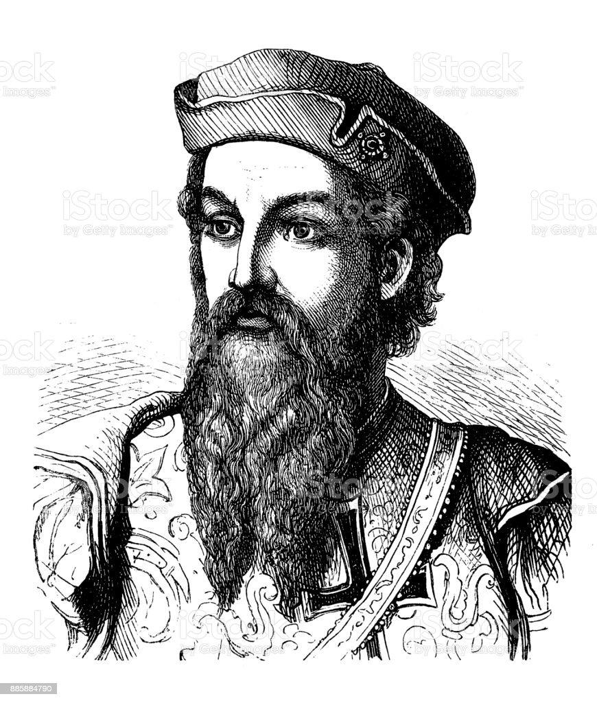 Albuquerque, Alfonso de, circa 1453 - 16.12.1515, Portuguese navigator and explorer, Goveror of Portuguese India 1506 - 1515 vector art illustration