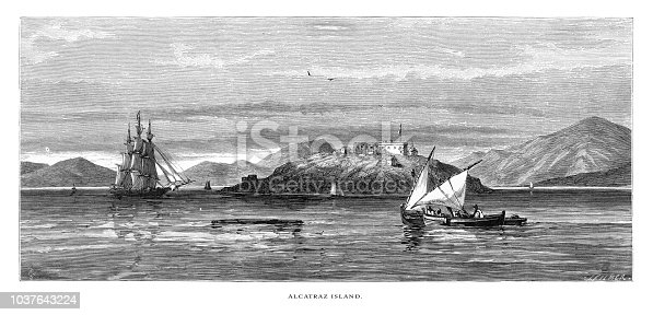Very Rare, Beautifully Illustrated Antique Engraving of Alcatraz Island, Golden Gate on the Coast of California, United States, American Victorian Engraving, 1872.