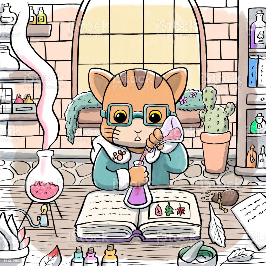 Alchemist Cat Brewing a Potion vector art illustration