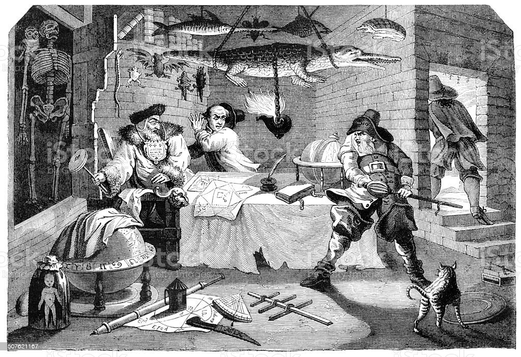 Alchemist fighting with knight 1848 vector art illustration