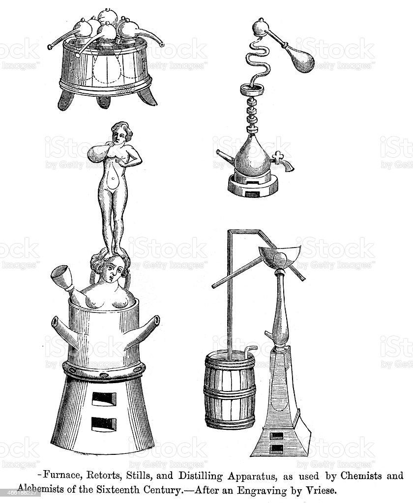 Alchemist's Equipment vector art illustration
