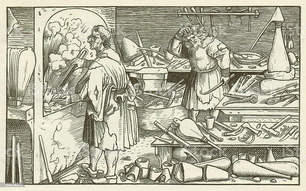 Alchemists, (Trostspiegel, 1520, by Hans Schäufelin, wood engraving, published 1881 vector art illustration