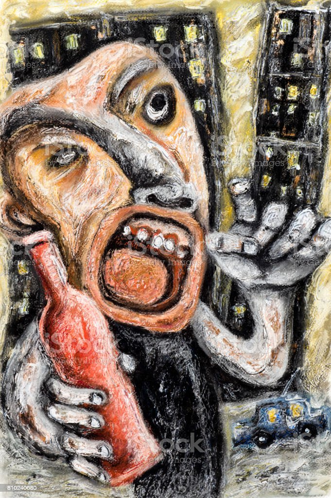Alcoholic Alcoholism Man vector art illustration