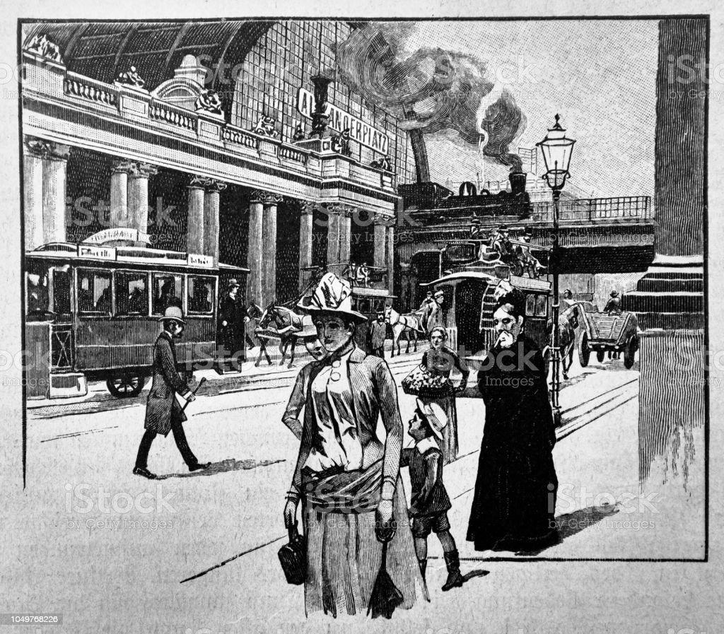 Victorian time - 1888 royalty-free aleksanderplatz in berlin victorian time