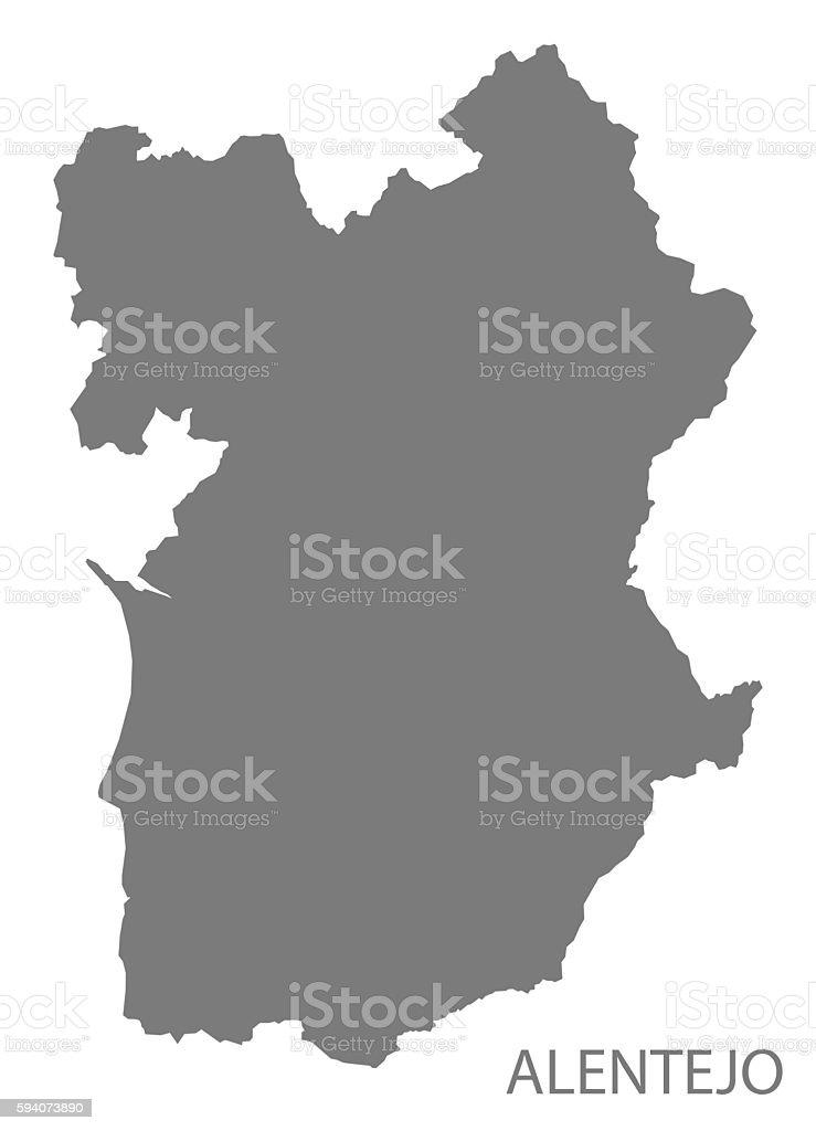 Alentejo Portugal Map grey - ilustração de arte vetorial