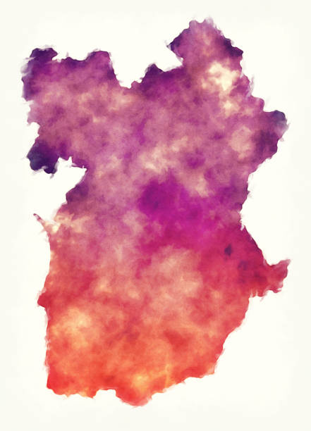 Alentejo region watercolor map of Portugal in front of a white background - ilustração de arte vetorial