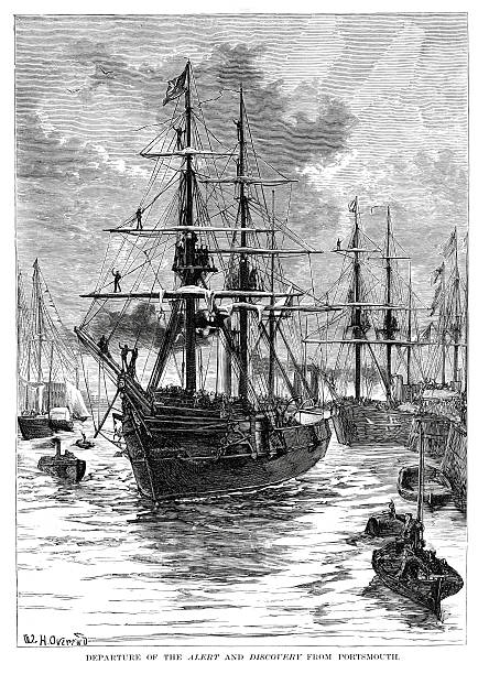 """HMS Alert and Discovery depart from Portsmouth """"Vintage engraving from 1878 showing HMS Alert and HMS Discovery departing from Portsmouth at the start of the British Arctic Expedition of 1875-1876, it was led by Sir George Strong Nares, and was sent by the British Admiralty to attempt to reach the North Pole via Smith Sound."""" depart stock illustrations"""