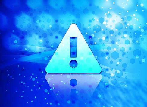 Alert icon abstract light cyan blue hexagon pattern background
