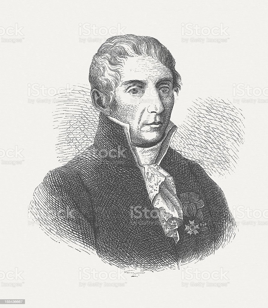 Alessandro Volta (1745-1827), Italian physicist, wood engraving, published in 1882 vector art illustration