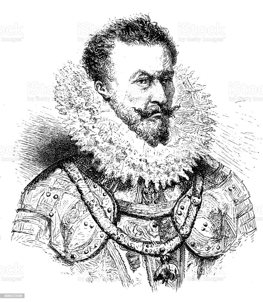 Alexander Farnese (1545-1592), Duke of Parma vector art illustration