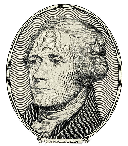 Alexander Hamilton $20 bill portrait cut out vector art illustration