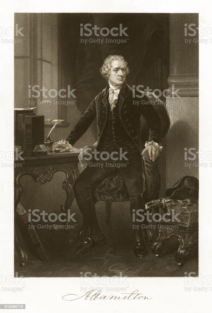 Alexander Hamilton Engraving vector art illustration