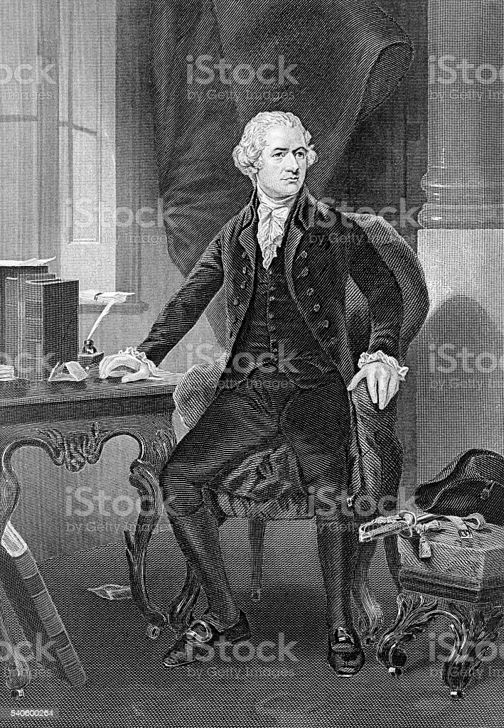 Alexander Hamilton famous American politician and founder vector art illustration