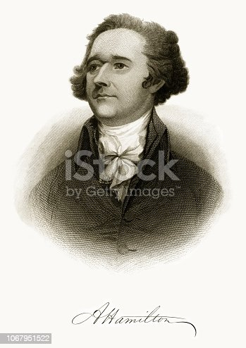 Very rare, beautifully detailed full length engraved portrait of Alexander Hamilton Historical Engraving, Published in 1872. Image also include his signature. Original edition from my own archives. Copyright has expired on this artwork. Digitally restored.