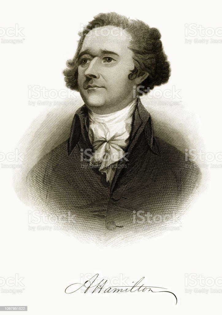 Alexander Hamilton Historical Engraving, 1872 vector art illustration