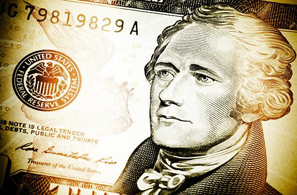 Alexander Hamilton on a $10 vector art illustration