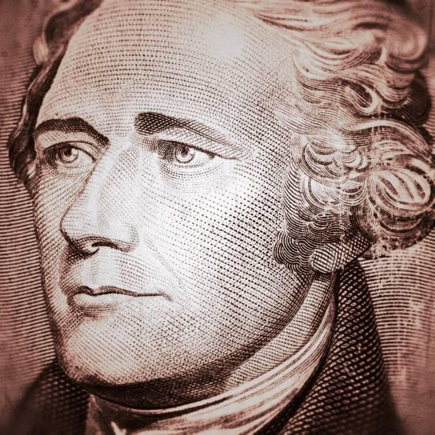 Alexander Hamilton on Ten US Dollar vector art illustration