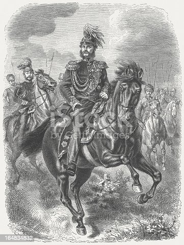 Alexander I of Russia (also Alexander the Blessed, 1777 – 1825) was from 1801 to 1825 Emperor of Russia, the first Russian King of Poland from 1815 to 1825 and was the first Russian Grand Duke of Finland and Lithuania. Woodcut engraving after a drawing by Wilhelm Camphausen (German painter, 1818 - 1885), published in 1877.
