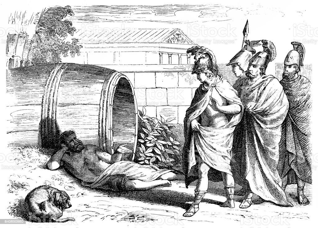 Alexander De Grote Ontmoet Filosoof Diogenes Van Sinope