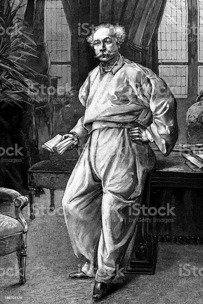 Alexandre Dumas at home. royalty-free stock vector art