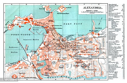 Map of Alexandria Egypt 1896 Alexandria is the second-largest city in Egypt and a major economic centre, extending about 32 km along the coast of the Mediterranean Sea in the north central part of the country. Original edition from my own archives Source :