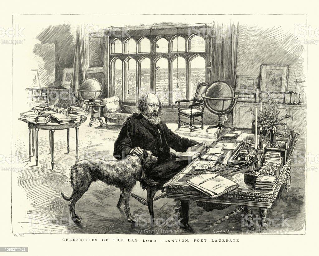 Alfred Lord Tennyson Poet Laureate 1884 Stock Illustration