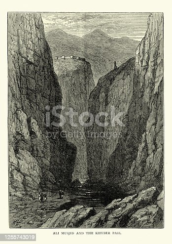 istock Ali Masjid Fort, narrowest point of Khyber Pass, 19th Century 1255743019